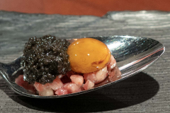Tartar of Pata Negra Gran Bellota, marinated quail egg and Sturgeon caviar