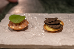 Lumpfish roe, sour cream and chives &  Emulsion of eggs and Comté cheese, preserved garlic and truffles