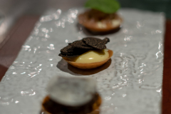 Emulsion of eggs and Comté cheese, preserved garlic and truffles