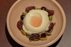 Foie Gras ice cream with preserved unripe strawberries, gooseberries, pistachios and pumpkin seeds