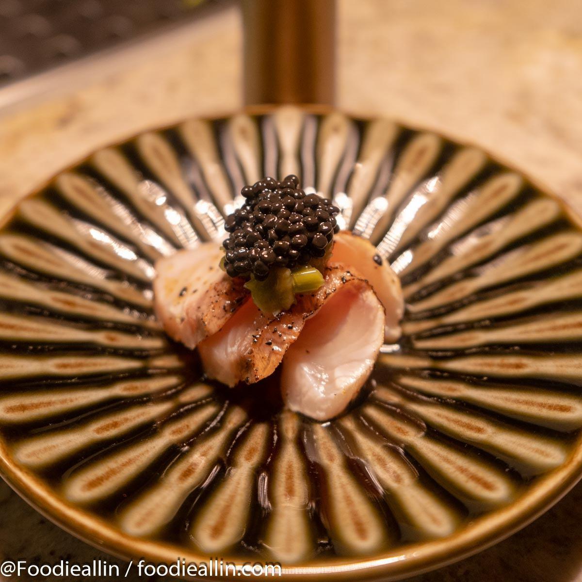 Hamachi Sashimi, Pickled Wasabi, Ponzu, Avruga