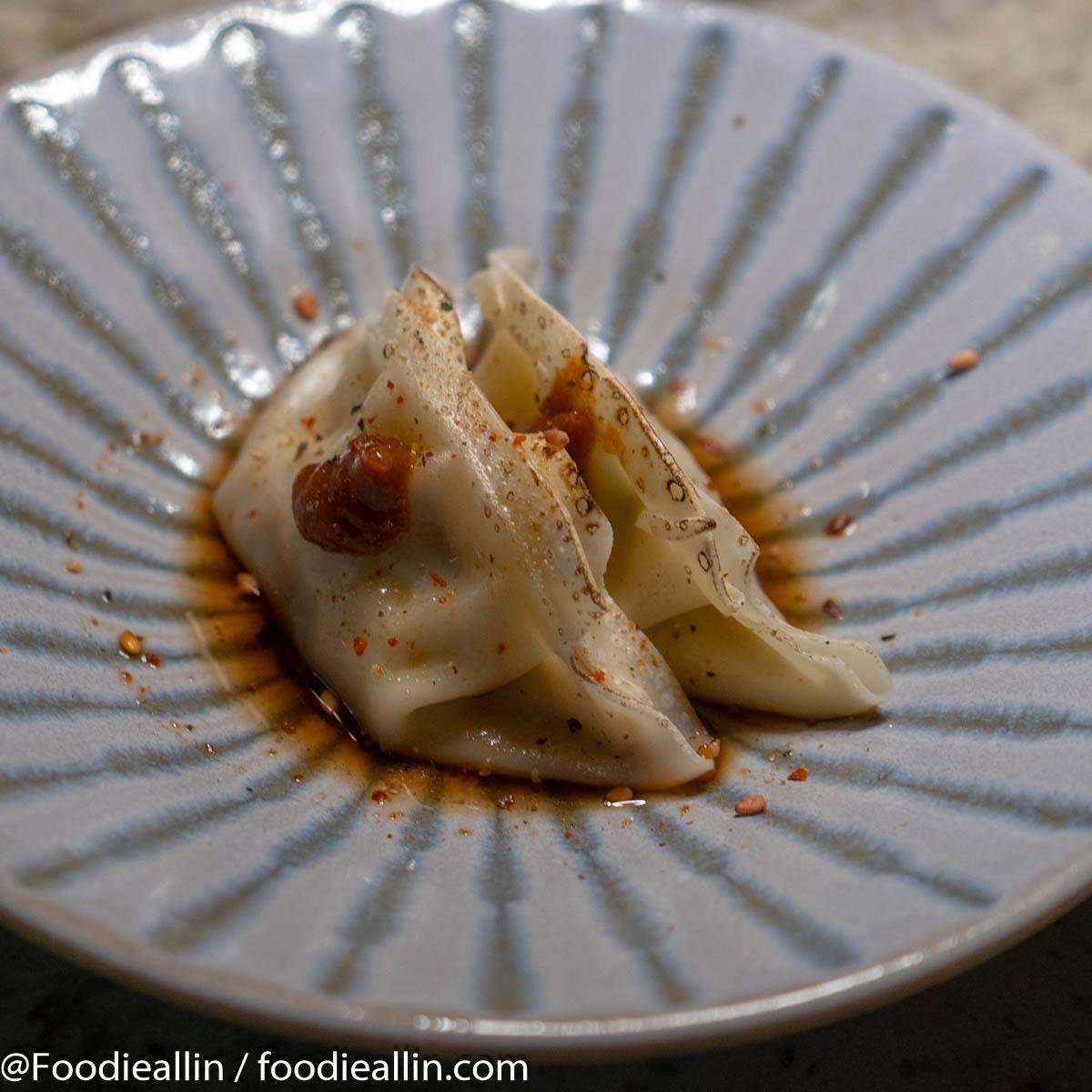 Cabbage Gyoza, Black rice vinegar, Hot chili