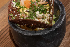 Shrimp sandwich with cold smoked shrimps, bleak roe, browned butter, creamed egg, dill and rye bread